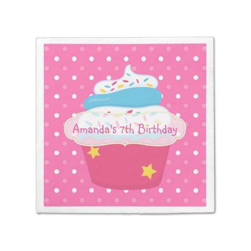 Girl's Cupcake Baking Birthday Party Personalized Standard Cocktail Napkin