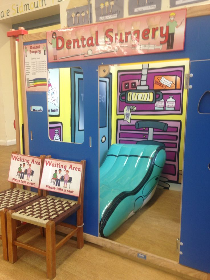 Dentist role play area | Role play areas, Calm classroom ... |Preschool Dramatic Play Dentist