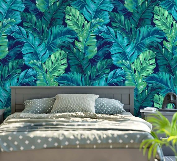Turquoise And Green Tropical Leaves Wallpaper Dark Blue Etsy In 2021 Leaf Wallpaper Tropical Nursery Decor Tropical Leaves