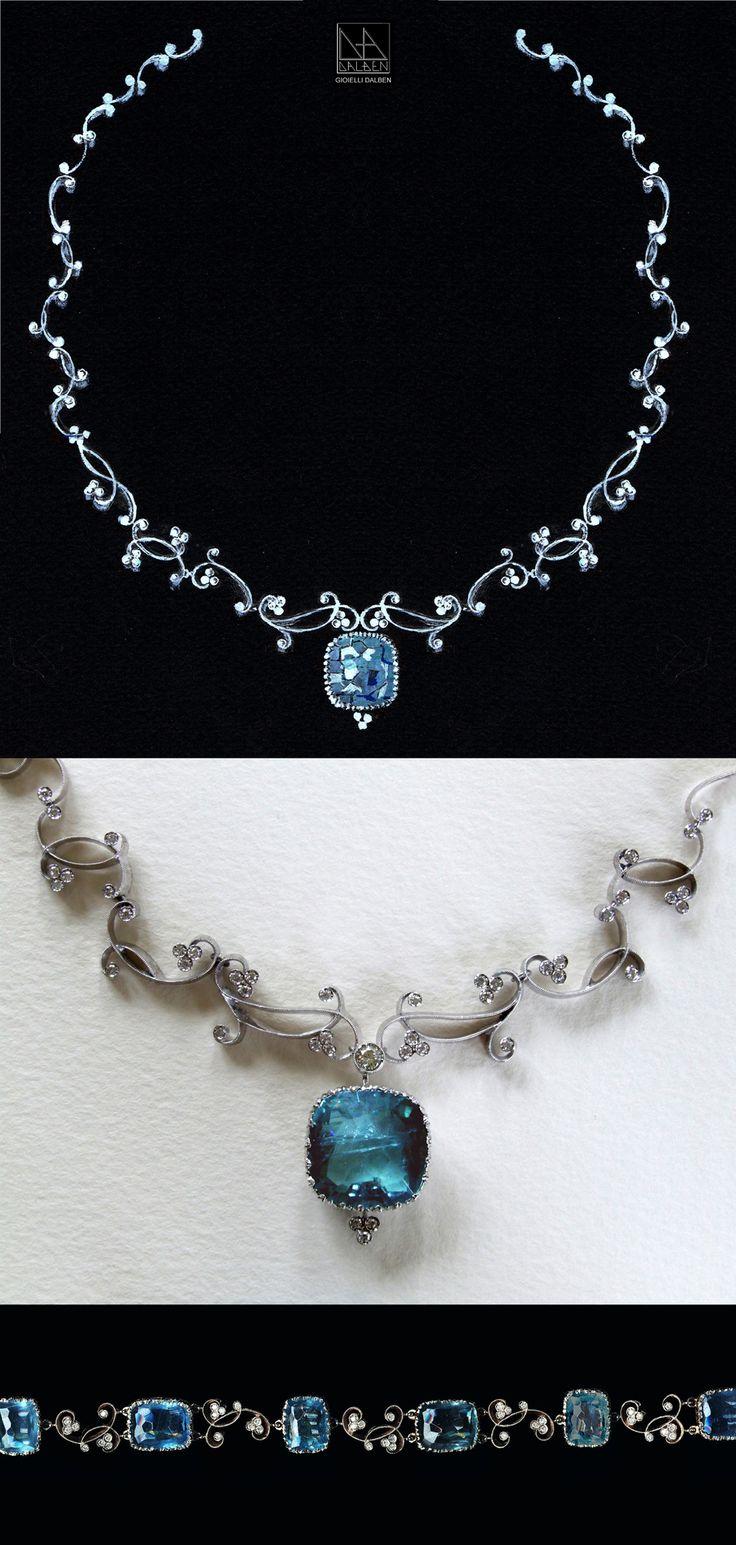 drawing for necklace and bracelet : diamonds aquamarine white gold - GIOIELLI DALBEN -italian fine jewelry