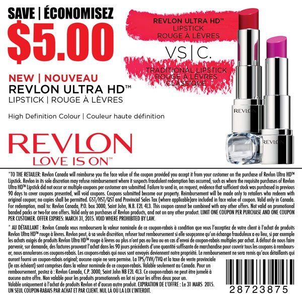 Revlon Coupon(High Value) - Save $5.00 On Lipstick!