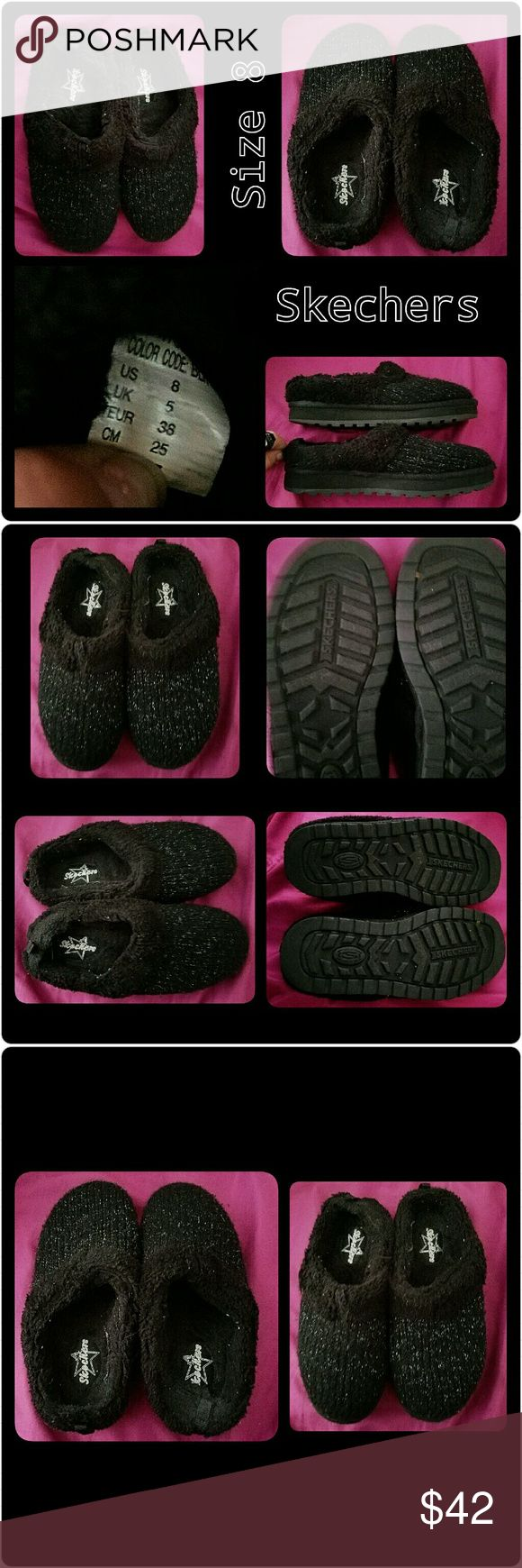 ♥⭐Super Comfy Black Glittery Skecher Slippers♥⭐ ♥⭐♥Oh my goodness these Skechers slippers are so nice and comfy!!♥⭐♥I only tried them on but they've never been worn.🆕.Literally like brand-new🆕♥They don't come with the Box♥ They were a gift.🎀They are size 8. What I love about them is they have REALLY cute silver glitter on them!! ⭐⭐and they're nice and fuzzy and comfortable!!⭐♥ ⭐SO COZY FOR THOSE COLD NIGHTS!☺😊♥⭐♥⭐♥⭐♥⭐♥ Skechers Shoes Slippers