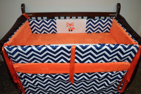 Fox Crib Bedding Fox Crib Set Blue Chevron Crib by LittleElska