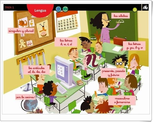 """Actividades interactivas complementarias a los libros de texto del proyecto """"Tren"""", de Editorial La Galera, 1º Nivel de Educación Primaria, área de Lengua Española."""