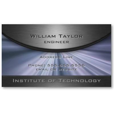 Metallic Elegance with blue rays and QR code on back. Business Card Template. $20.10 per pack of 100 #elegant #business #card #metallic #modern #blue #rays