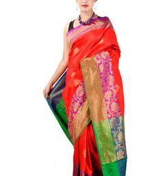 Buy Red woven silk saree with blouse banarasi-silk-saree online