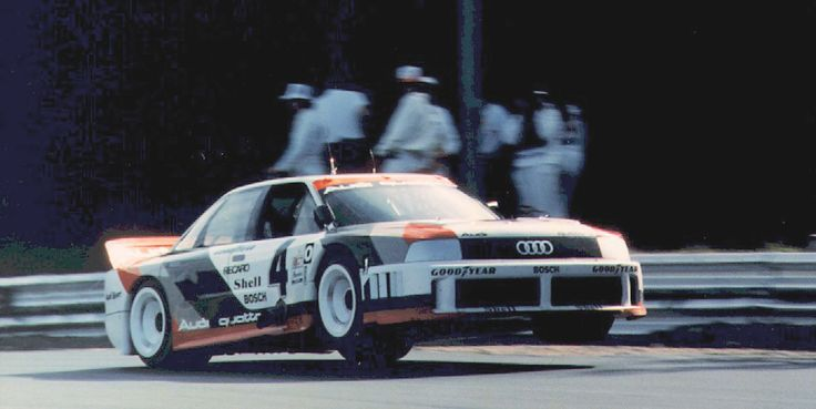 An Audi 90 quattro IMSA GTO with Hans-Joachim Stuck behind the wheel in 1989 at Lime Rock Park, Connecticut, USA. The 5-cylinder-turbo produced around 600hp.