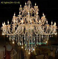 Antieke Grootste Cognac crystal glas kroonluchter licht lamparas voor kerk kasteel 28-42 lichten E14 LED kaarshouder kroonluchter