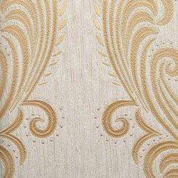 Diseño con formas de tipo barroco, en color gris y beige en este papel pintado de la colección Karat de Parati.