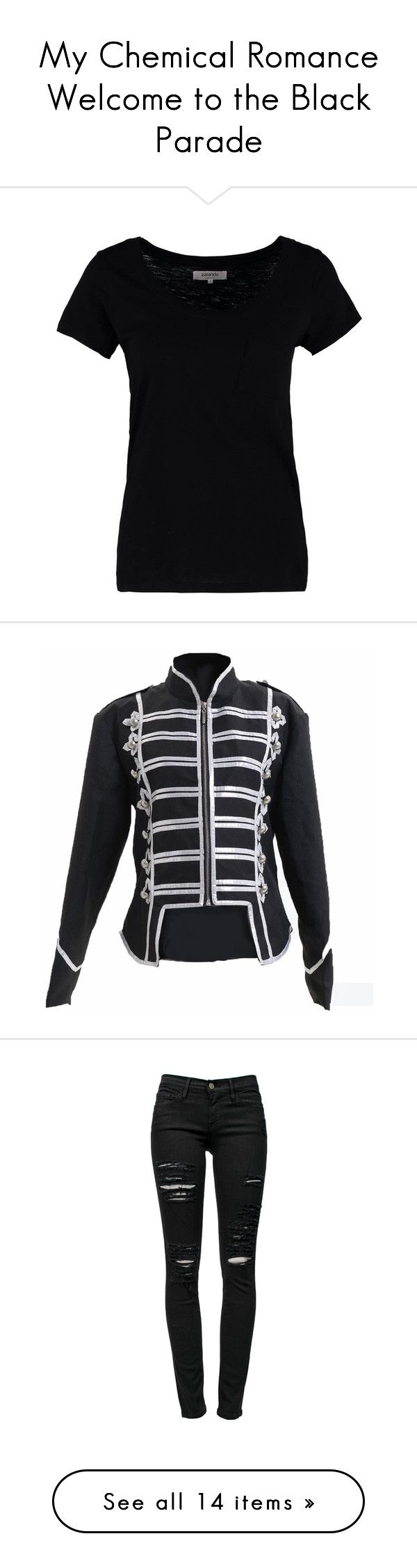 """My Chemical Romance Welcome to the Black Parade"" by cheyenneprice98 ❤ liked on Polyvore featuring tops, t-shirts, black, print tees, crewneck tee, crew neck t shirt, women tops, black t shirt, jackets and lullabies"