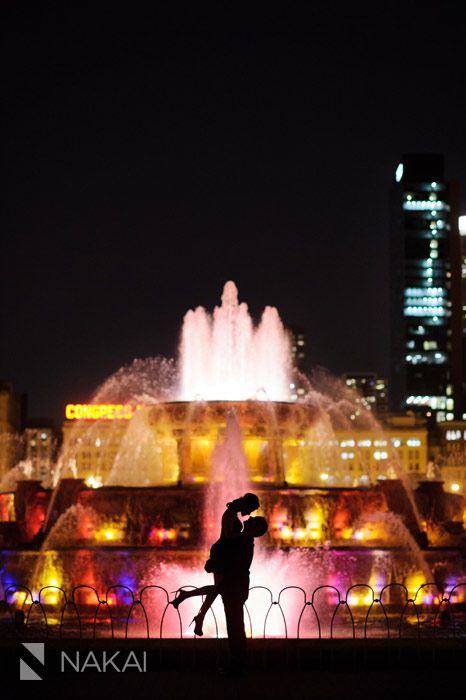 Chicago Fall + Night Engagement Photos - Buckingham Fountain + Millennium Park! Cherlie + David! | Chicago Destination Wedding Photographer - Nakai Photography Blog