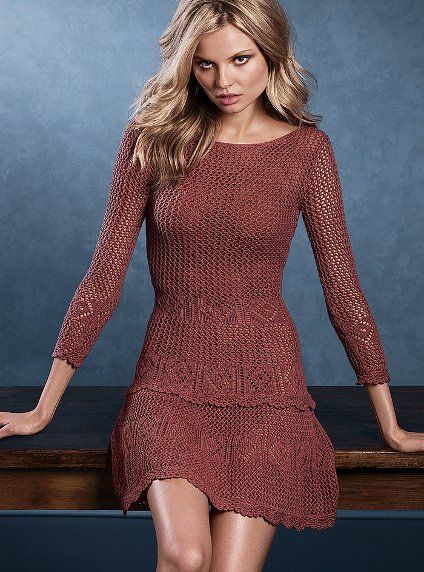 love the texture...in this color and in creme! - victoria's secret crochet scoop back dress