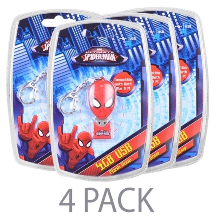 (4-Pack) Vivitar Marvels Ultimate Spider-Man 4GB USB 2.0 Flash Drive w-Keychain Attachment