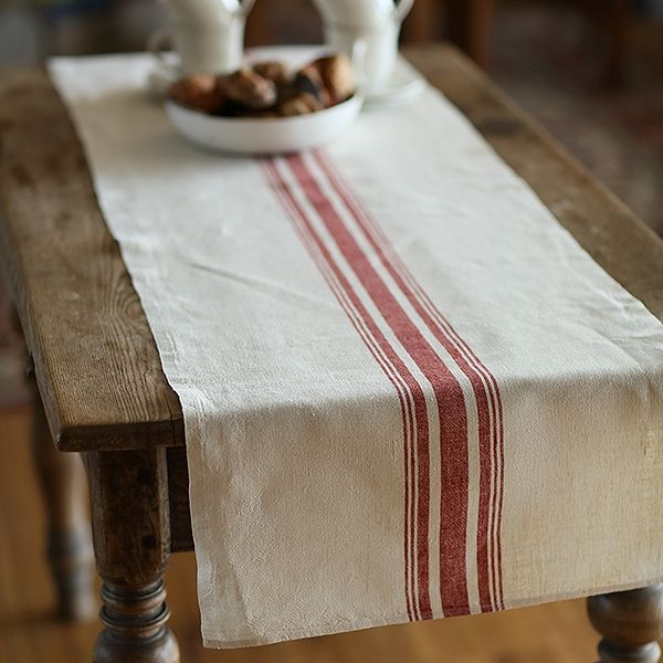 Cream Red Striped Antico Uno Linen Table Runner