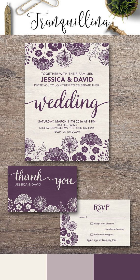 Purple Wedding Invitation Printable, Floral Wedding Invitation Suite, Modern Wedding Invitation, Rustic Wedding Invite, Printable Wedding Invitations. For more elegant wedding stationery, follow the link: http://tranquillina.etsy.com #weddinginvitations #purplewedding