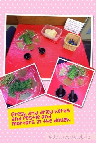 Fresh and dried herbs with pestle and mortars in the dough area. We particularly enjoyed using scissors to cut up the chives.