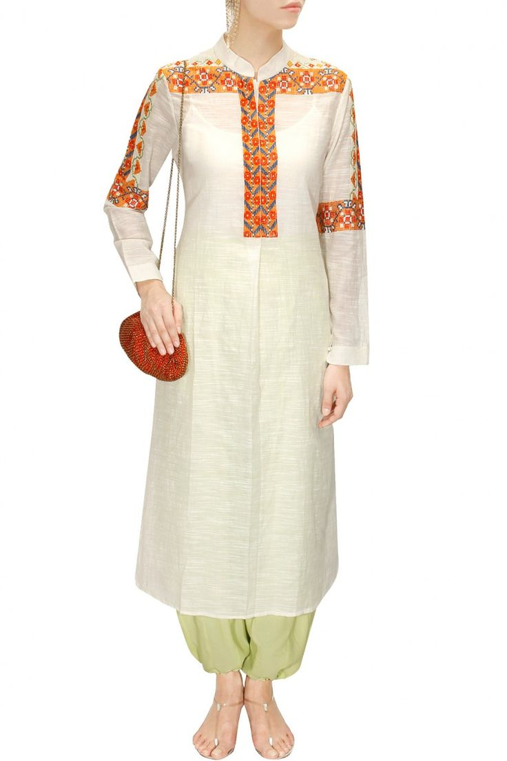 Ecru and orange embroidered tunic available only at Pernia's Pop- Up Shop.