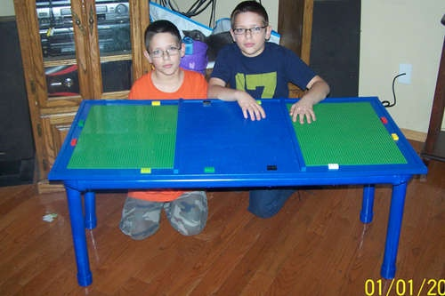 How to make a Lego table out of PVC pipe (maybe with foldable or removable legs to slide under bed?)