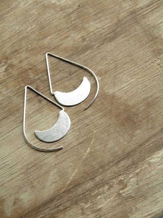 Long Urban Hoops -  sterling silver drop open hoop earrings, textured, matte, made in Italy