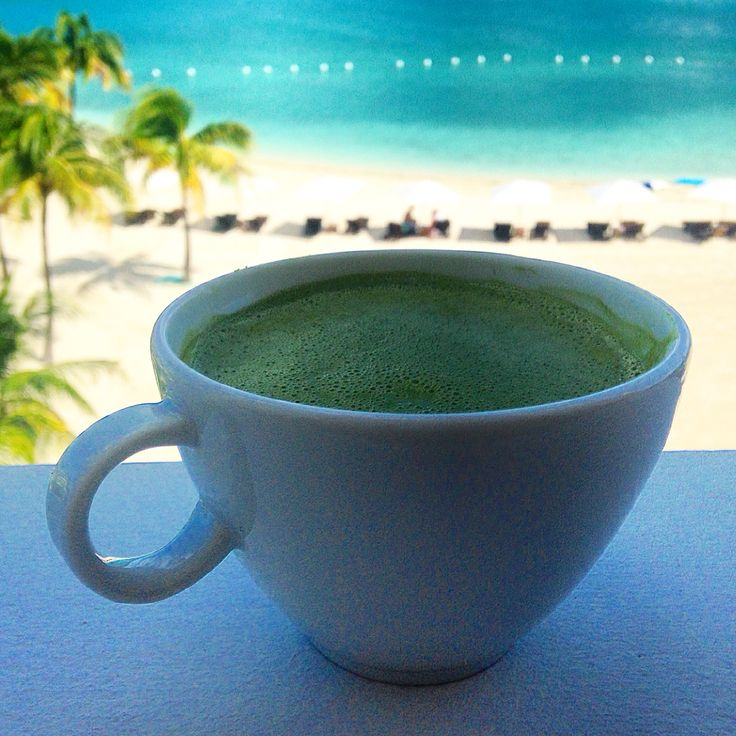 Late morning #matchalatte with a view :) coconut milk, tsp coconut butter, tsp matcha -- blend it up!