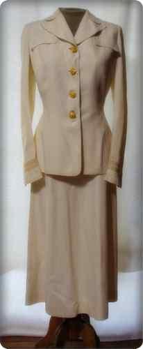 Vintage Waves Navy Uniform 40s Structured Suit Gabardine White Jacket Skirt B38 | eBay