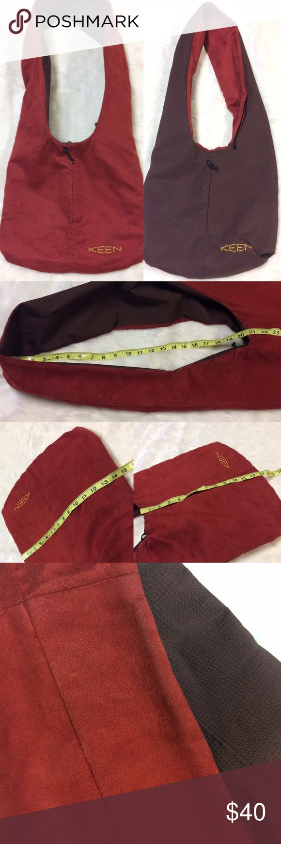 Reversible KEEN Large Crossbody Bag Brown Red See pics for measurements. Some signs of wear-see pics. Still lots of life left in this! Perfect for shopping, camping, hiking, gym, worth-anything! Keen Bags Crossbody Bags
