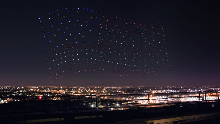 Intel powered the drones during Lady Gagas Super Bowl halftime show There were300 drones dancing behind Lady Gaga during the Super Bowl halftime show. Theyre called Shooting Stars and were previously used in a holiday show at Disney World. These hundreds of Shooting Star drones flash fall and flock in unison and are all controlled by one person  or rather one computer.  This is the latest project in Intels quest to take drones from individuals to fleets. This is Enders Game brought to life…