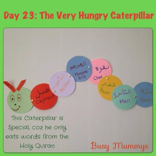 The very hungry caterpillar who only eats words from the Holy Qur'an. To help kids learn a vast Arabic/Qur'an vocabulary