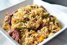 kip jambalaya || kipfilet, chorizoworst, gele paprika, haricot verts, uien, kippenbouillon, paprikapoeder, cayennepeper, tabasco, witte rijst