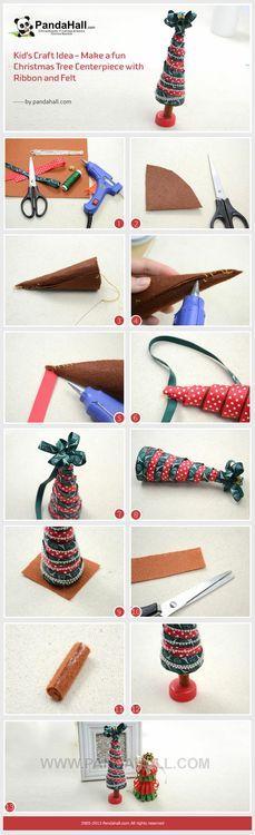Jewelry Making Tutorial-DIY Fun Christmas Tree Centerpiece with Ribbon and Felt | PandaHall Beads Jewelry Blog