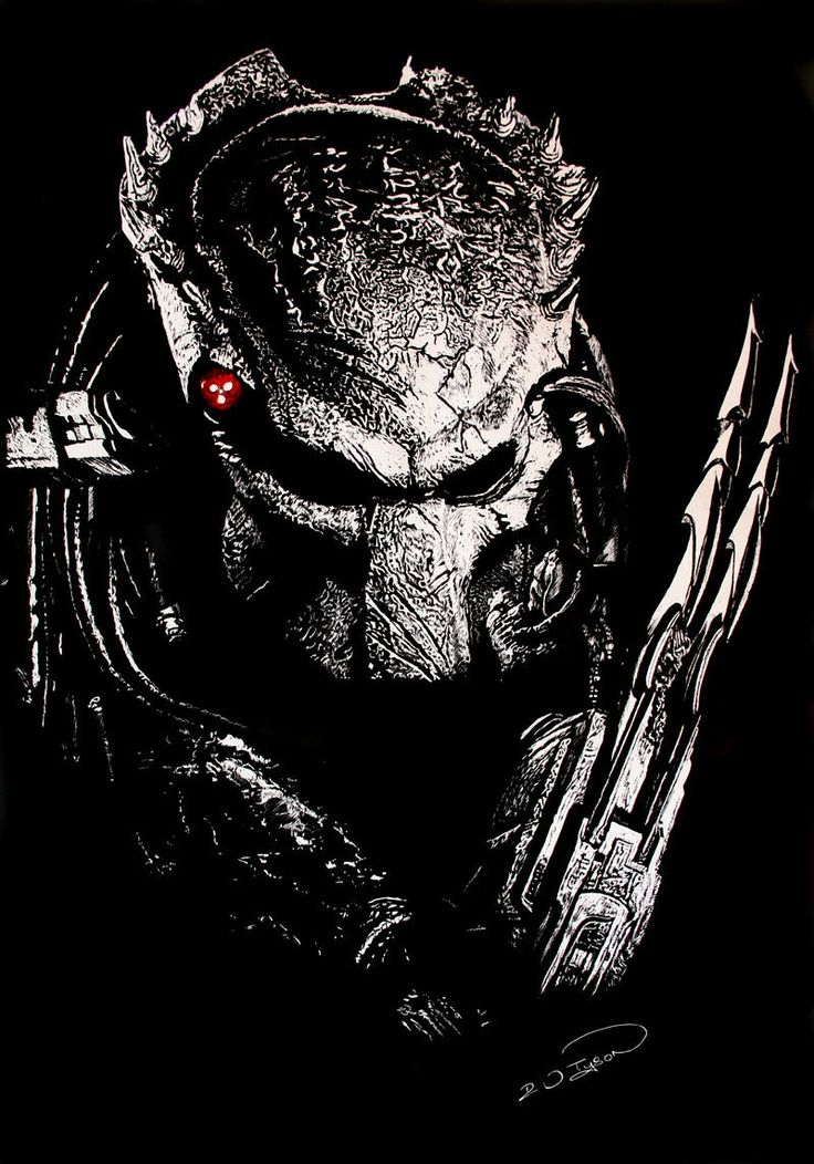 Alien vs Predator scratchboard ....as the title says! I had this big sheet of scraperboard/scratchboard for two years and didn't know what to do on it. Then after seeing and faving another art...