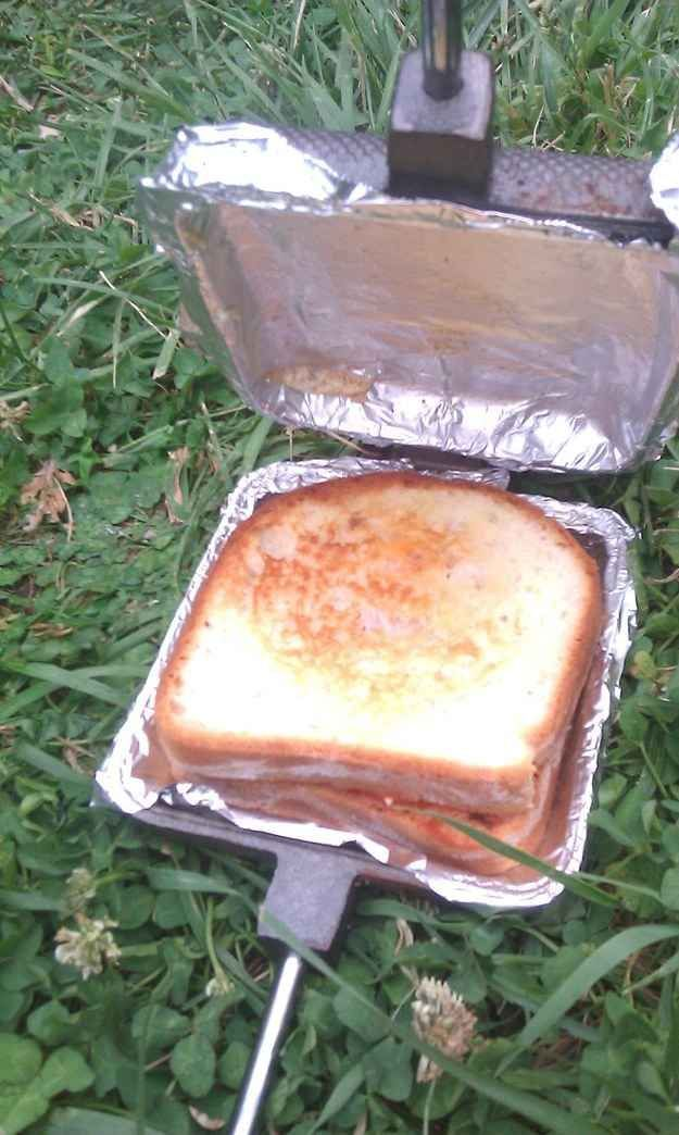 Line your pie iron with foil for easy clean up. | 41 Genius Camping Hacks You'll Wish You Thought Of Sooner