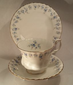 """Memory Lane About: Royal Albert, """"Memory Lane"""", in the Montrose cup shape From: local antique shop Price: $18 Quality: slight wear on the gilding, but hardly noticeable Notes: I had admired and desired a cup in this pattern for months but was hesitant to buy a set; the cost of a Royal Albert cup/saucer/plate set, even second hand like this one is, is usually around $45. I found this one for $18 and got very excited."""