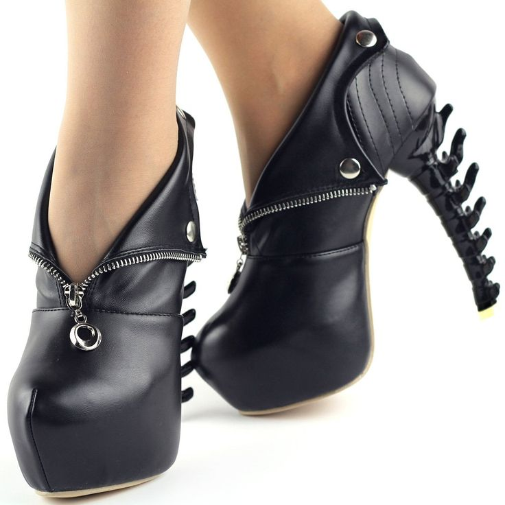 Show Story Black/White Zip High-top Bone High Heel Platform Ankle Boots,LF40605: Shoes: