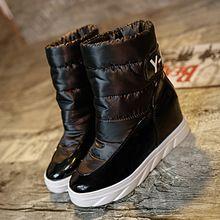 Kadın çizmeler kar 2016 sıcak satış deri siyah ayakkabı kış bahar sonbahar ayak bileği platformu motosiklet kadın patik için bot hakiki(China (Mainland))