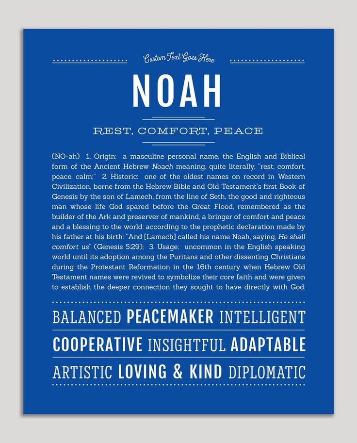 Noah Name Art Print in 2020 Classic names