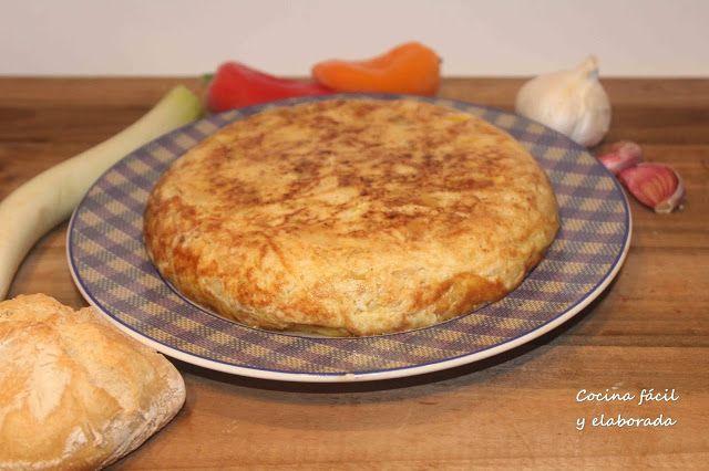 cocina facil y elaborada: TORTILLA DE PATATAS, CALABACIN Y PUERRO