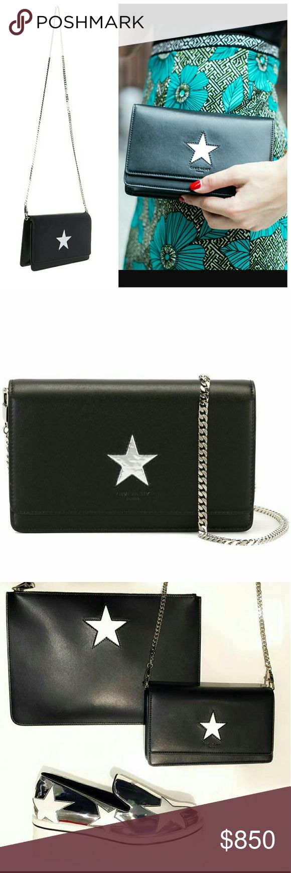 🎉SALE!🎉 Givenchy Pandora Star Wallet on Chain 💯 smooth calfskin black leather with silver star accent at front.  New, never worn, no defects.  Original duster, care card/tag included.  🚫Sold out!!🚫 💯 Authentic.  $1195+ tax retail.  Stock photos shown to display fit.  No Trades ✋ no Lowballers. Givenchy Bags Crossbody Bags
