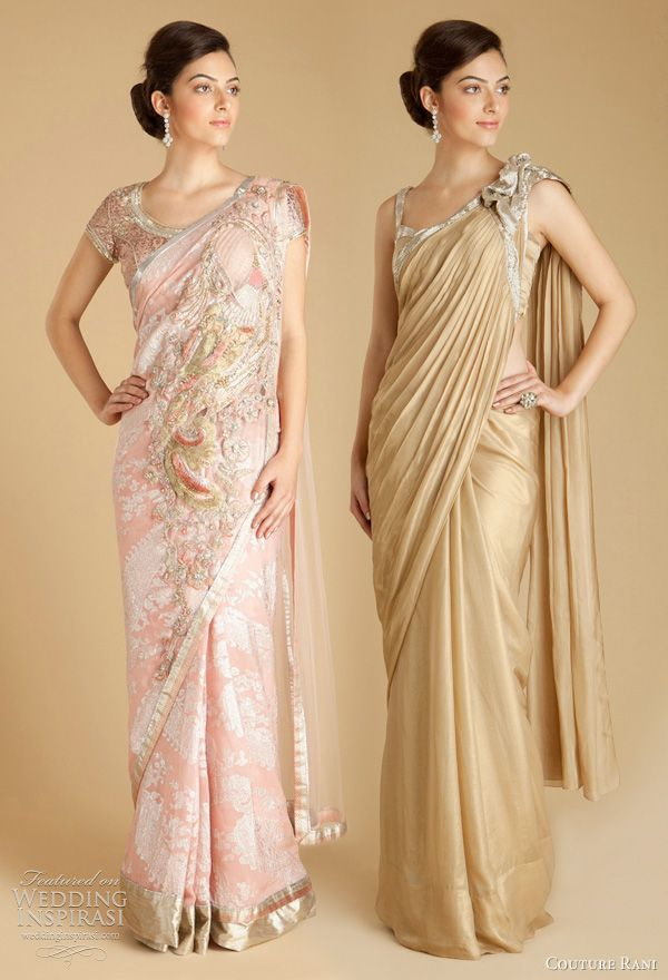 Gaurav Gupta's signature is his modern interpretation of classic Indian design and is a favorite among the country's young fashionistas. Below, light pink booti georgette sari with embroidered peacock motif comprised of yarn thread work and Swarovski Elements embroidery; gold foil chiffon brooch sari.