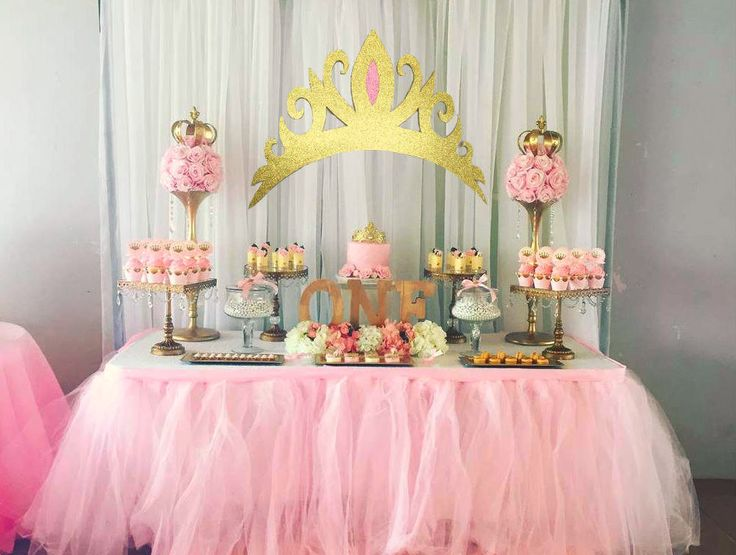 Gold Glitter Tiara Cutout Backdrop Girls Pink Party Prop