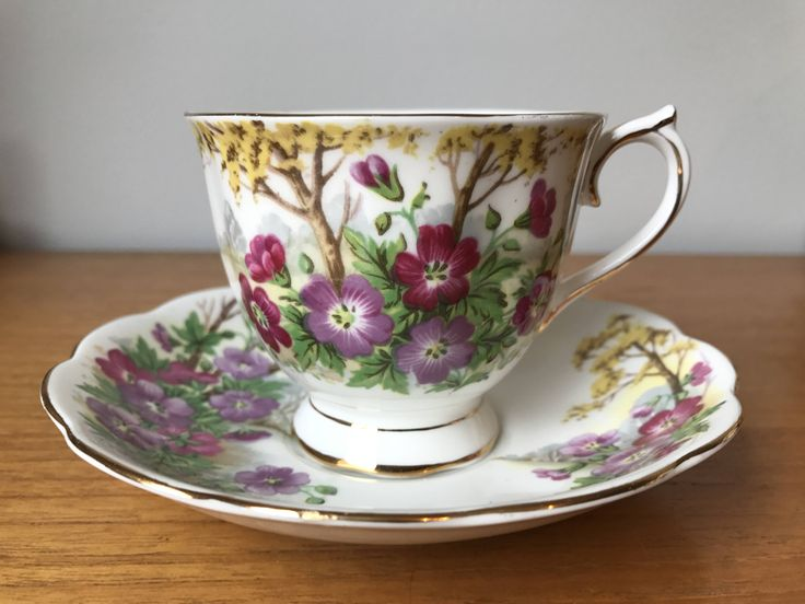 """Royal Albert """"Wild Geranium"""" Vintage Tea Cup and Saucer, Pink and Purple Flower Teacup and Saucer, Trees Forest Scene Bone China by CupandOwl on Etsy"""