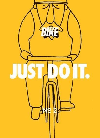 I do it every day. I have to start running too.: Illustrations Corporate, Bicycles Stuff, Beautiful Bicycles, Bikes, Nike Illustrations, Posters, Bicycles Zaka, Bicycles Fit, Yellow Graphics Design