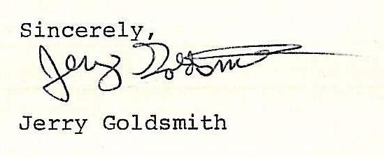 The signature of Jerry Goldsmith