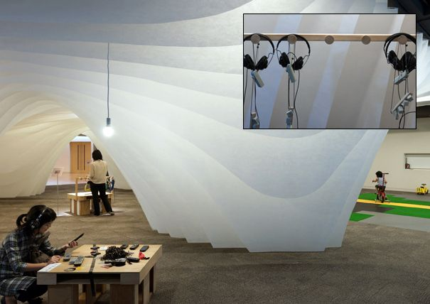 """Draping cloth marking spaces into a """"cave-like"""" structure"""