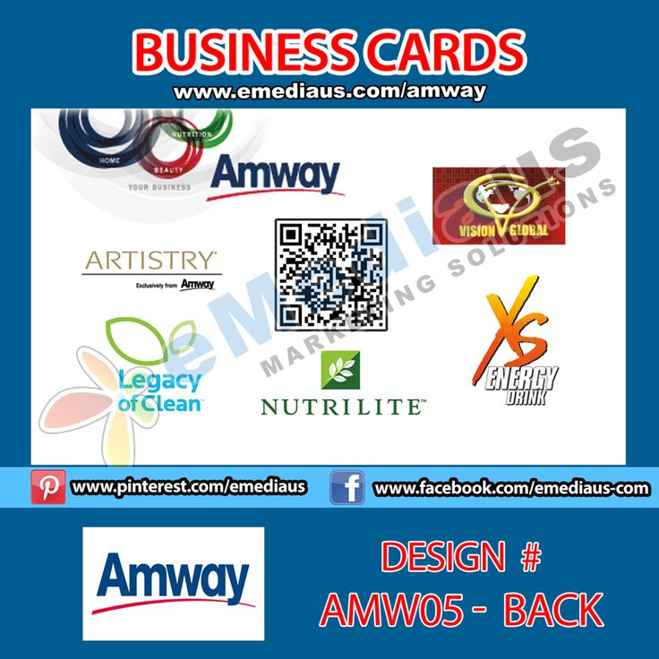 AMW05 Back Design Business Card 3.5'' x 2 Amway