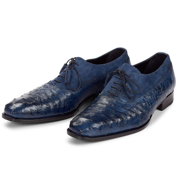 Mauri Men's Hand-Painted Dante Wonder Blue Oxfords Material: Ostrich /  Suede Color: Wonder Blue Outer Sole: Leather Comes with original box and  dustbag Made ...