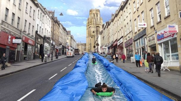 More fun on the streets: What about turning steep streets into water slides?