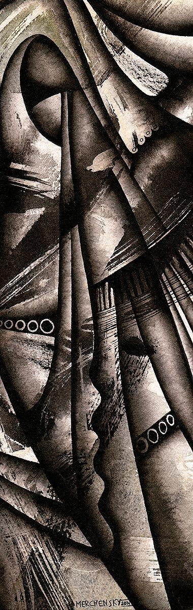 Agoreros (detalle) - Titna china sobre papel de algodón - 2015 - Autor: Vladimir Merchensky