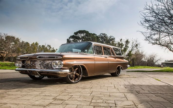 Download wallpapers Chevrolet Impala, 1959, Station Wagon, retro cars, American classic cars, lowrider, tuning Impala, Chevy, Chevrolet