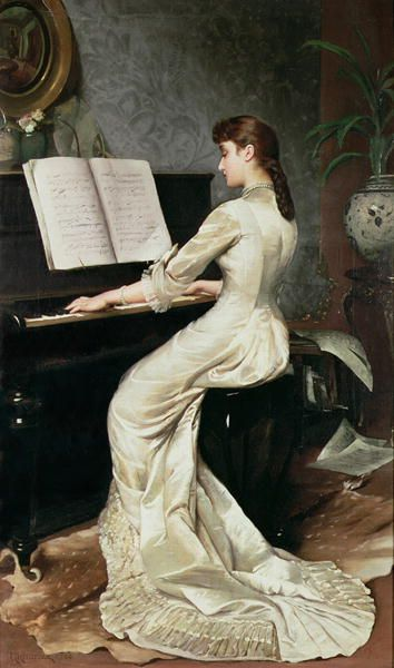 ♪ The Musical Arts ♪ music musician paintings - A Song Without Words by George Hamilton, 1888